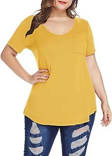 Womens Plus Size Shirts Casual V Neck Short Sleeve Tunic...