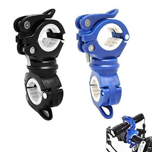 Lepidi 2 Piezas Soporte de Antorcha de Bicicleta, Soporte 360 Grados Linterna para Bicicleta, Universal Rotación 360 El Plastico Abrazadera de Luz de Bicicletapara Clip, Una Linterna (2 Colores)