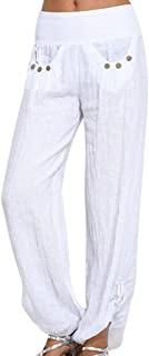 VZEXA Women Pants Yoga Pants Solid Buttons Casual Pants Loose Trouser Wide Leg Pants Athletic Pants