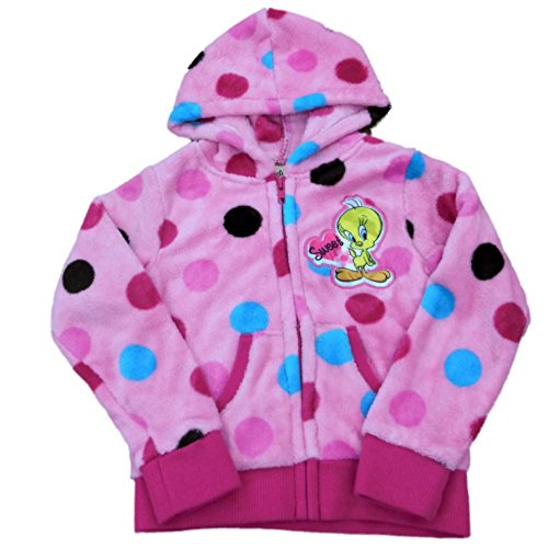 Tweety Girls Pink Polka Dot Hoodie Zip Front Fleece Sweatshirt Jacket 5