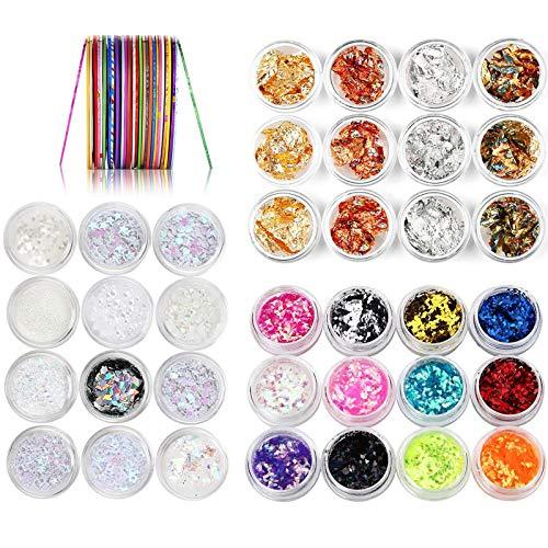 36 Cajas Nail Art Foil Gold Silver Foil Paillette Flake Nail Art Decoration(28 Colores)+1 Juego de 30 Colores Mixtos Rollos De Uñas,Cinta Pegatinas de Arte de Uñas de Diseño de Bricolaje(1mm)