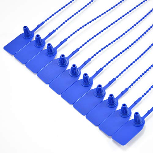 Leadseals(R) 100 Plastic Tamper Seals, Zip Ties for Fire Extinguishers Pull Tite Security Tags Numbered Trailer Seal Disposable Self-Locking Tie 250mm Length (Blue)