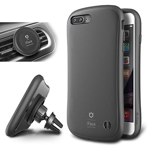 iFace iPhone 7 Plus Case e Car Holder, Caso Duro [Duo Series] 2in1 Robusta Protezione con Magnetic Air Vent Car Mount Kickstand per Apple iPhone 7 Plus (2016) - Grigio Canna di Fucile