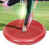 BKSDMAN Ballsitzkissen inkl. Pumpe 34cm Durchmesser - Balance-Kissen, Sitzballkissen, Luftkissen, Balance Pad, Noppenkissen - Core-, Fitness-, Reha-, Koordinations- und Rückentraining rot