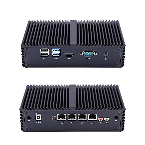 Qotom-Q355G4 AES-NI Fanless Mini PC as Firewall Router Intel Core i5 5200U 4 Ethernet LAN Computer (8G RAM + 512G SSD + WiFi)