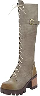 ⭐ Futurelove ⭐ Women's Boots High Heels Wild Cross Lace-Up Belt Buckle Chunky Middle-Tube Boots for Spring Autumn Winter