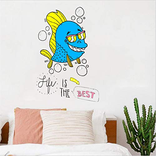 Fish Life is The Best Cartoon Wall Decal Sticker Art Vinyl Decor Removable PVC Decoration for Toilet Lid Closestool Refrigerator Cabinet