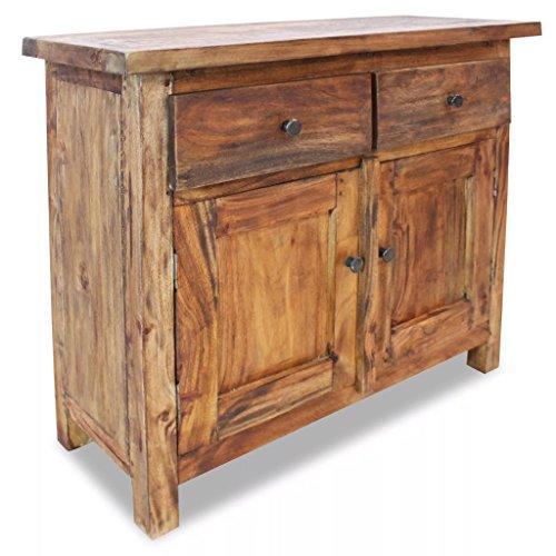 yorten Sideboard mit 2 Türen Highboard Kommode mit 2 Schubladen Antik Standschrank Recyceltes Massivholz 75 x 30 x 65 cm (B x T x H)