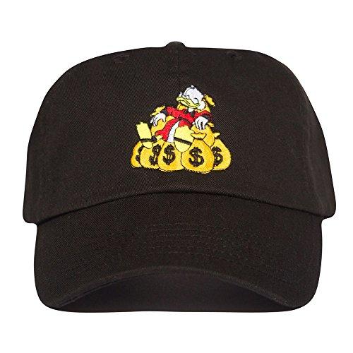 Uptop Studios Money Bags Hat - Black Scrooge mcduck Dad Cap