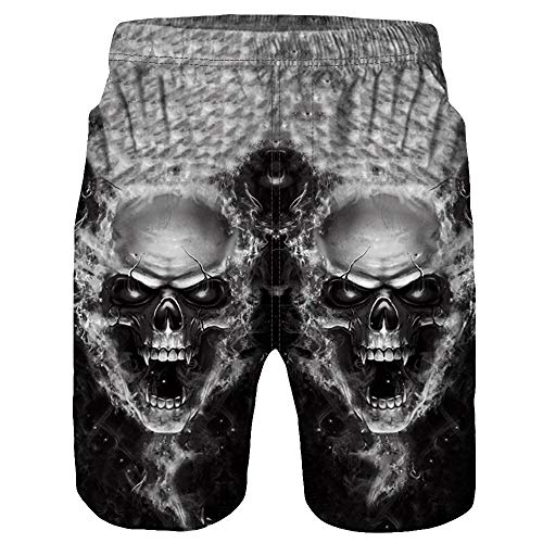 IZHH Herren Badehose,Freizeit Beachshorts Kurze Hosen Schnelltrocknend Casual 3D Skull Printed Beach Work Casual Shorts Hosen SchäDel Print Shorts Strandhosen Beachvolleyball-Shorts(Grau,XL)