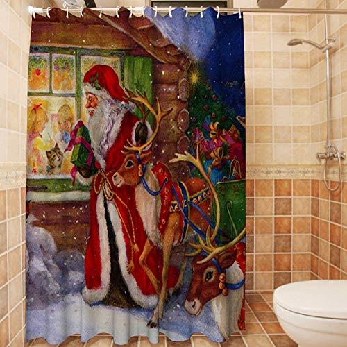 Duschvorhang,Wasserdichte Schimmel Nachweis Resistent Waschbar Bad Vorhang, Weihnachten, Weihnachtsmann Und Geschenke Vor Dem Fenster, 3D-Duschvorhänge Mit 12 Haken Für Bad, 70 × 70 Cm (180 × 180