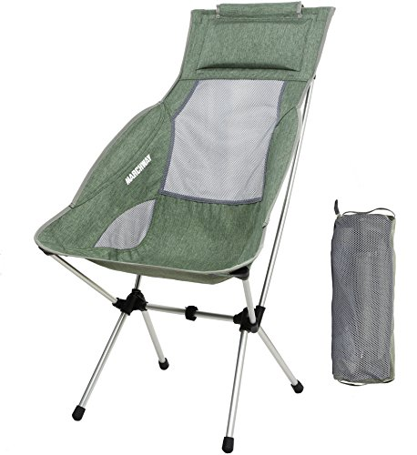 MARCHWAY Lightweight Folding High Back Camping Chair with Headrest Portable Compact for Outdoor Camp Travel Picnic Festival Hiking Backpacking Light Green