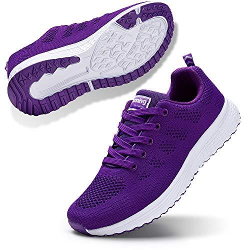 STQ Damen Laufschuhe Freizeit Walking Schuhe Mesh Atmungsaktiv Fitness Schuhe Outdoor Sportshuhe Lila EU39