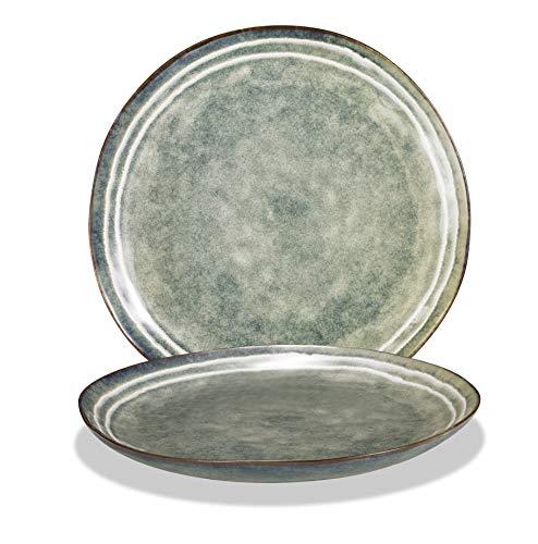 Supremery Van Well All Rivers - Juego de 2 platos llanos (cerámica, 26,5 cm, aptos para lavavajillas y microondas), color azul