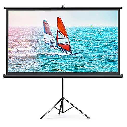 HYZ Projector Screen with Stand,100 inch Indoor Outdoor PVC Movie Projection Screen 4K HD 16: 9 Wrinkle-Free Design for Backyard Movie Night(Easy to Clean, 1.1Gain, 160° Viewing Angle & A Carry Bag)