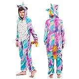 MMTX Unicornio Onesies Pijamas Unisexo Niños, Franela Animales Cosplay Disfraz Halloween Navidad Ropa de Dormir para 6-8 años Altura 115-125 cm