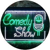 Comedy Show Room Decoration Dual Color LED看板 ネオンプレート サイン 標識 白色 + 緑色 300 x 210mm st6s32-i3238-wg