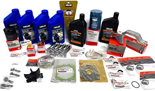 YAMAHA 2004-2005 F115 4-Stroke Outboard 100 Hour Maintenance Kit with Water Pump Rebuild Repair Kit, Thermostat, Fuel Filters, Spark Plugs, Trim Tab, Anodes, Lower Unit Gear Lube, Gaskets