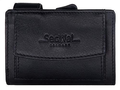 SecWal Kartenetui mit Münzfach Druckknopf - Echtleder Mini Geldbörse inkl. E-Book für Damen und Herren - RFID Schutz Portemonnaie Leder - Geldbeutel klein (Schwarz)