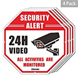 4-Pack Video Surveillance Sign CCTV Security Alert,...