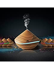 infinitoo Essential Oils Diffuser, 500ml Wood Grain Ultrasonic Diffuser Auto Shut-Off Cool Mist Humidifier with 4 Modes Adjust Time, 7 Colors LED Lights for Baby Room, Home,Yoga, SPA, Office