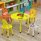 Mesa para Niños Y Juego De Sillas para Animales Mesa Redonda para Niños De Madera Redonda Asiento De Dibujos Animados Habitación para Niños Sala De Juegos Muebles Preescolares para 2-8 Años