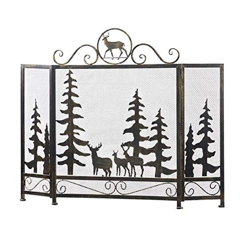 ZLI Fire Spark Guard Bronze Plow & Hearth Fireguard wtih Elk Design, Solid Wrought Iron Frame with Metal Mesh, 3 Panel Foldable Spark Guard, Tall 88cm