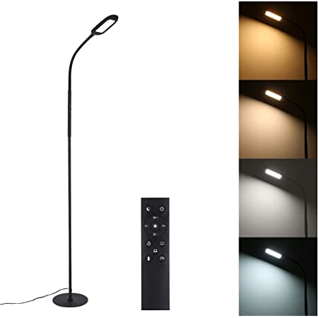 Tomshine Led Floor Lamp Remote & Touching Control 4 Colour Temperatures with Stepless Dimmable for Bedroom Living Room Office