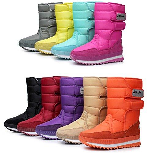 DADAWEN Women's Waterproof Frosty Snow Boot Khaki US Size 10