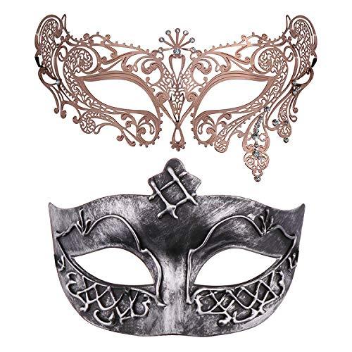 Thmyo Set von 2 Maskerade Maske für Paare, venezianische Karneval Kostüm Ball Maske (Antikes Silber & Roségold 4)