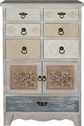 Beauty.Scouts Kommode Sideboard Rena weiß antik Mehrfarbig 97x60x35cm Shabby Chic Look Highboard Wohnzimmerkommode Esszimmerkommode Flurkommode