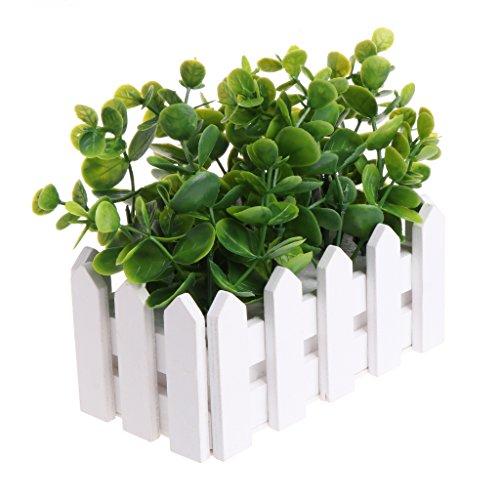 Kofun Pot de Fleurs Artificiel Vert avec Petites Feuilles d'eucalyptus pour décoration de fête