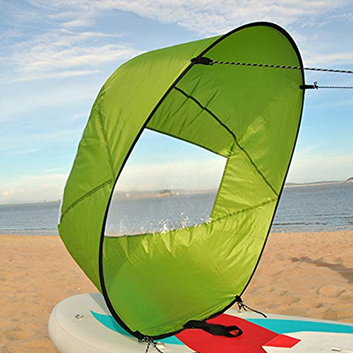 FADDR Faltbares Kajak-Downwind-Segel - 42 Zoll Kajak-Windsegel-Paddel mit transparentem Fenster, Beweglichem Kanu-Popup-Wind-Segel-Installationssatz - Schlauchboot-Kanu-Kajak-Zusätze(Grün)