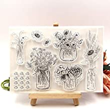 Flower Vase Transparent Clear Silicone Stamps for DIY Scrapbooking/Card Making/Kids Crafts Fun Decoration Supplies