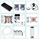 Bewinner DIY 240mm Water Cooling Kit, DIY 240mm Cooler CPU/GPU Block Pump Reservoir with LED Fan Heat Sink Computer Water Cooling Connectors Kit, All-in-one Liquid CPU Cooler Kit