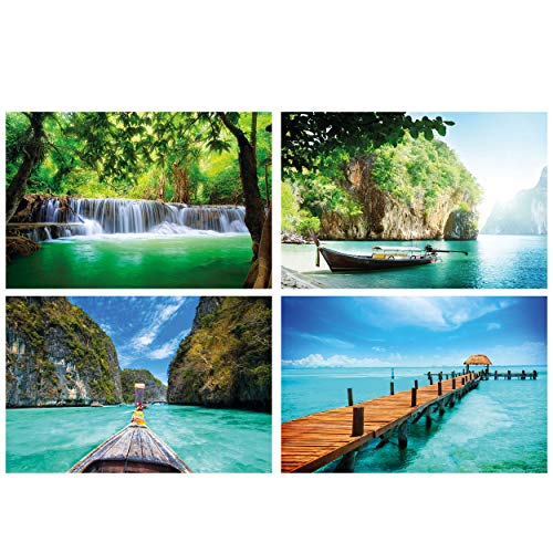 GREAT ART® set de 4 motivos de póster XXL - ambiente de Tailandia - cascada pescador barco de cola larga embarcadero playa decoración de interiores 140 x 100 cm