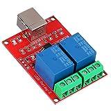 Richer-R 2チャンネル5V リレーモジュール USBリレー モジュール コンピュータUSBスマートスイッチコントローラ PCリレードライブモジュール拡張ボード