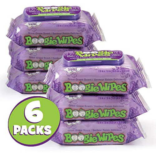 Boogie Wipes Wet Wipes for Baby and Kids Made with Natural Saline, Grape Scent, 180 Count (Pack of 6)