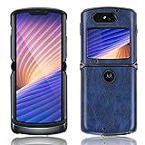 SPAK Motorola Razr 5G 2020 Hülle,PU-Leder Schutzhülle Harter Rückseitiger Abdeckungs Handyhülle für Motorola Razr 5G 2020 (Blau)