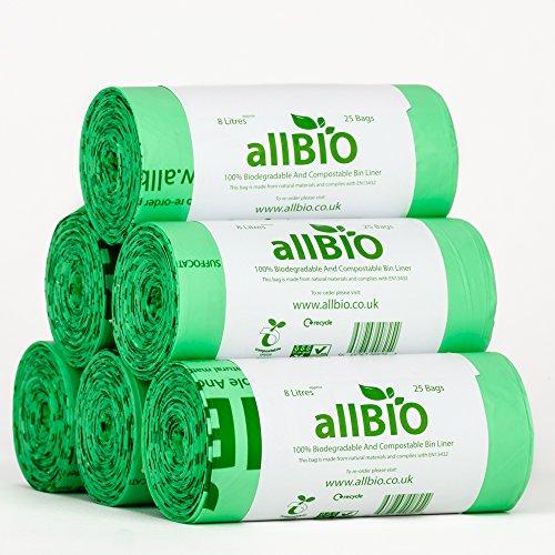 allBIO 8-Liter-Müllbeutel für Bioabfall, kompostierbare Abfälle/150Müllbeutel, für die Küche