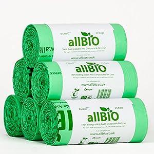 6 x 25 bags allBIO 8 Litre 100% Biodegradable & Compostable Kitchen Caddy Liners