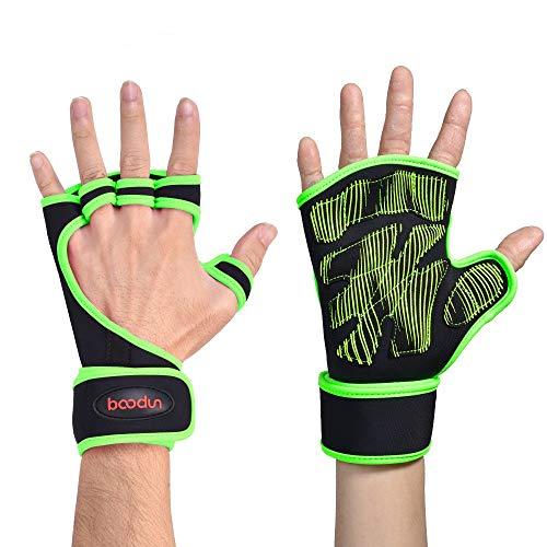 Sporttrainingshandschuhe Anti-Rutsch-Sport-Handgelenk-Handschuhe der Männer Fitness-Handschuhe Hälfte-Finger Ausrüstung tragen Palm Silikon Klimmzüge Kettlebells Kreuzheben ( Farbe : Grün , Size : L )