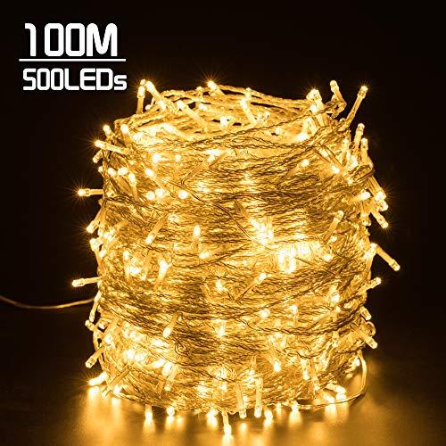 Quntis 500 LEDs 100m Lichterkette Warmweiß, Weihnachtsdeko Strombetrieb mit 8 Modi & Memoryfunktion für Außen und Innen, wasserdicht, Beleuchtung für Xmas,Hochzeit, Geburtstag, Party, Garten
