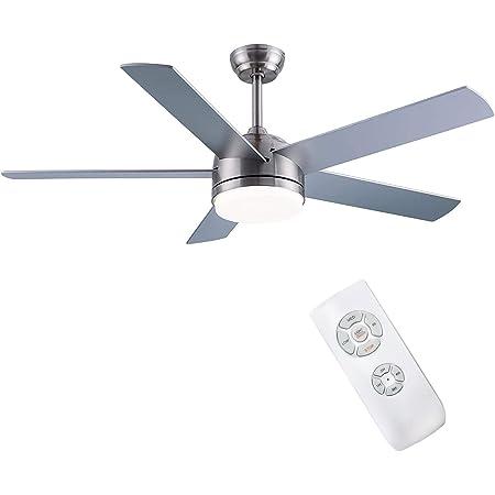 CJOY Plafonnier avec Ventilateur, Ventilateur de plafond avec éclairage et Télécommande Silencieux Sable Nickel 52 pouces AC 5 pales avec lampe LED + Couvercle en Verre