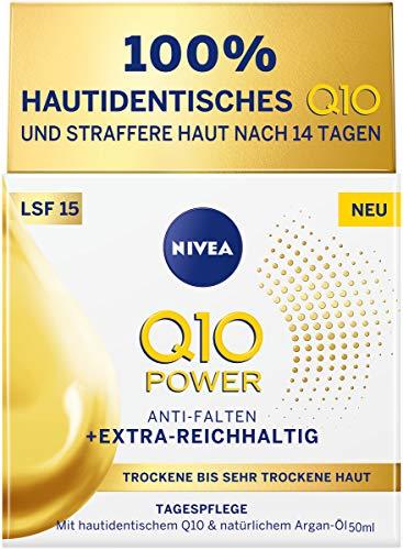 NIVEA Q10 POWER Tagespflege für trockene bis sehr trockene Haut im 1er Pack (1 x 50 ml), Tagescreme für gemilderte Falten, intensive Feuchtigkeitscreme mit LSF 15