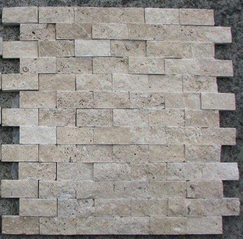 Marble 'n things Split Face 1x2 Classic Beige Travertine for Kitchen Bathroom backsplash & Exterior Use