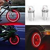 ZEIMA LED wasserdichte Reifen Ventilkappen Neonlicht Auto, Zubehör Fahrradlicht Auto,wasserdichte+UltraBright LED,LED Ventil Kappen,Reifen Beleuchtung,Für Sie Fahrrad,Auto,Motorrad oder LKW (Rot)