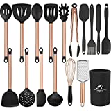 Mibote 17 Pcs Kitchen Utensils Set with Holder, Silicone Cooking Kitchen Utensils Set with Stainless...