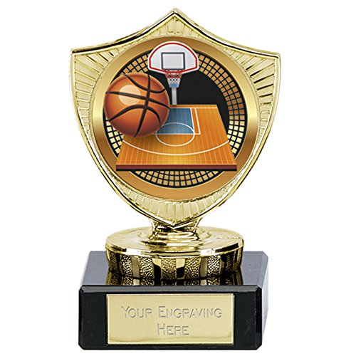 10cm Basketball Trophy 50mm Farbe mitte auf Marmorsockel gratis Gravur bis zu 30Buchstaben