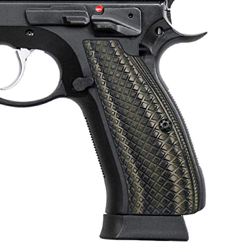 Cool Hand G10 Grips for CZ 75 Full Size/SP-01 Shadow, Snake Scale Texture, Brand,Coyote Color